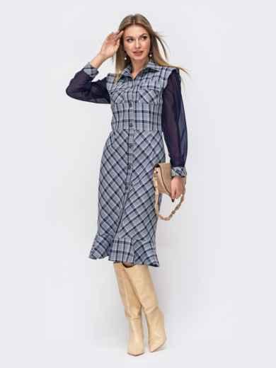 Синее платье-рубашка в клетку с шифоновыми рукавами 51362, фото 1