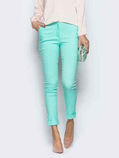 Бирюзовые брюки из бенгалина с подворотом 12781, фото 1