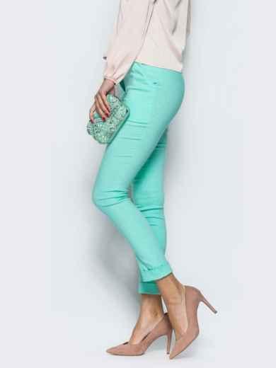 Бирюзовые брюки из бенгалина с подворотом - 12781, фото 2 – интернет-магазин Dressa