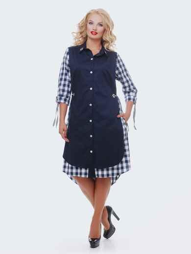 Двухслойное платье-рубашка в клетку на рукавах синее - 28457, фото 1 – интернет-магазин Dressa