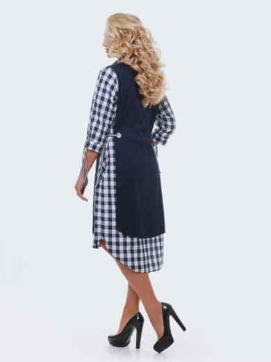 Двухслойное платье-рубашка в клетку на рукавах синее - 28457, фото 2 – интернет-магазин Dressa