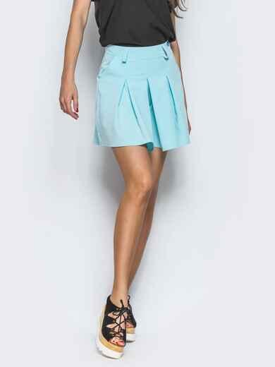 Голубая юбка-мини в складку 13429, фото 1