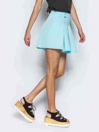 Голубая юбка-мини в складку 13429, фото 2