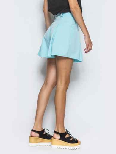 Голубая юбка-мини в складку 13429, фото 3