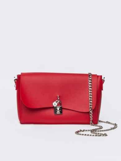 Красная сумка-багет из эко-кожи на длинной цепочке - 21466, фото 2 – интернет-магазин Dressa