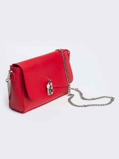 Красная сумка-багет из эко-кожи на длинной цепочке - 21466, фото 3 – интернет-магазин Dressa