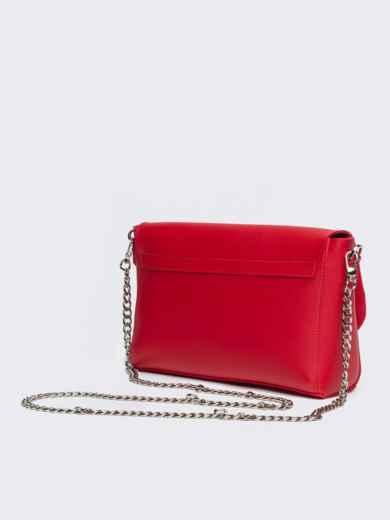 Красная сумка-багет из эко-кожи на длинной цепочке - 21466, фото 4 – интернет-магазин Dressa