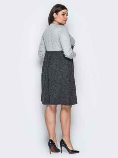 """Платье из трикотажа """"Ангора"""" с расклешенной юбкой серое - 18367, фото 2 – интернет-магазин Dressa"""