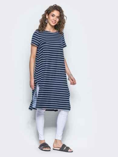 Полосатая туника свободного кроя с разрезами по бокам синяя - 13419, фото 2 – интернет-магазин Dressa