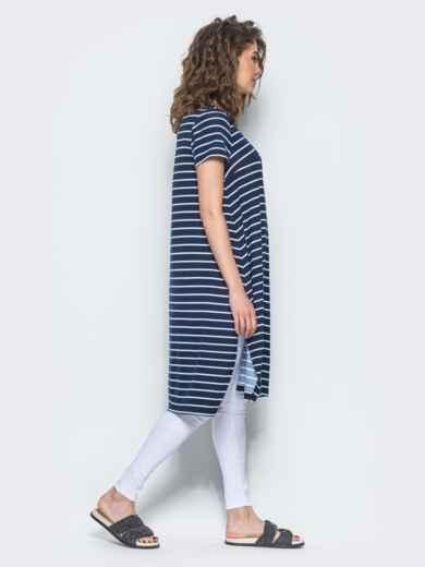 Полосатая туника свободного кроя с разрезами по бокам синяя - 13419, фото 3 – интернет-магазин Dressa