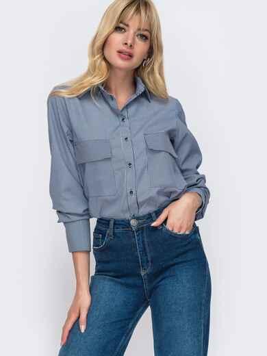 Рубашка в тёмно-синюю полоску с закругленным низом 49478, фото 1