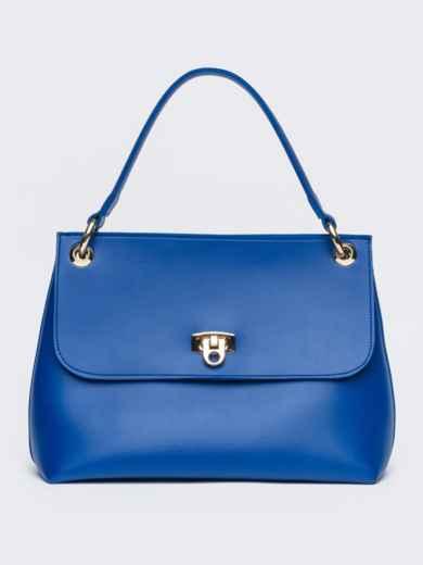 Сумка-келли синего цвета с дополнительным ремешком - 21464, фото 2 – интернет-магазин Dressa