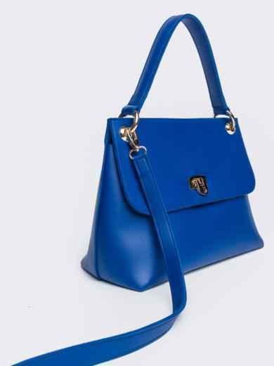 Сумка-келли синего цвета с дополнительным ремешком - 21464, фото 3 – интернет-магазин Dressa