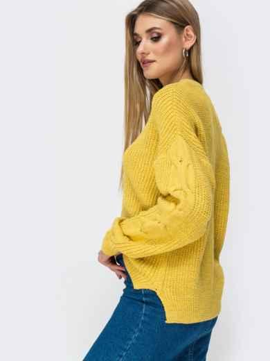 Свитер желтого цвета с удлиненной спинкой - 41807, фото 6 – интернет-магазин Dressa