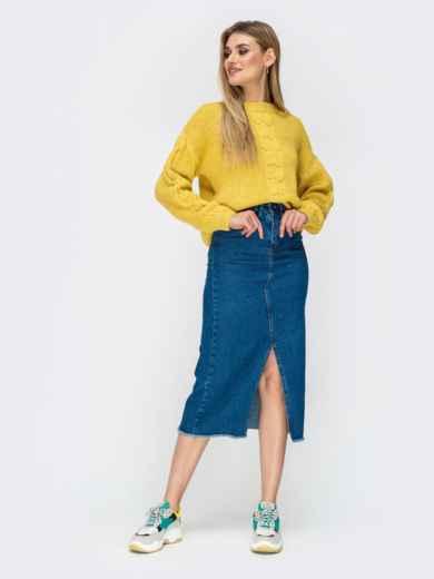 Свитер желтого цвета с удлиненной спинкой - 41807, фото 7 – интернет-магазин Dressa