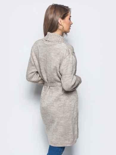 Вязаный кардиган с рельефной вязкой на полочке серый - 15810, фото 3 – интернет-магазин Dressa