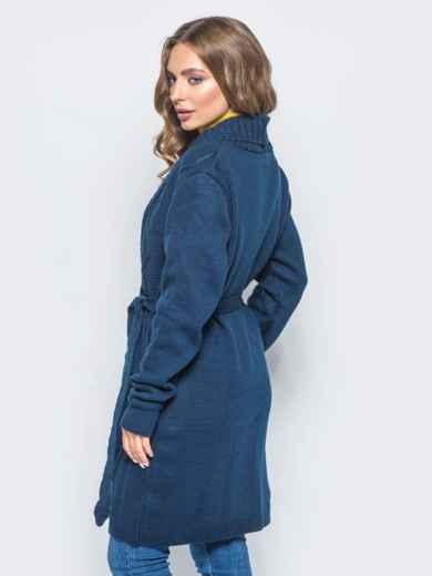 Вязаный кардиган с рельефной вязкой на полочке тёмно-синий - 15808, фото 3 – интернет-магазин Dressa
