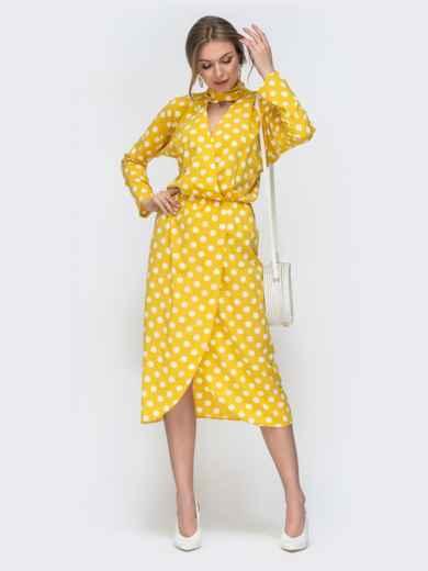Желтое платье в горох с воротником-аскот 45844, фото 1
