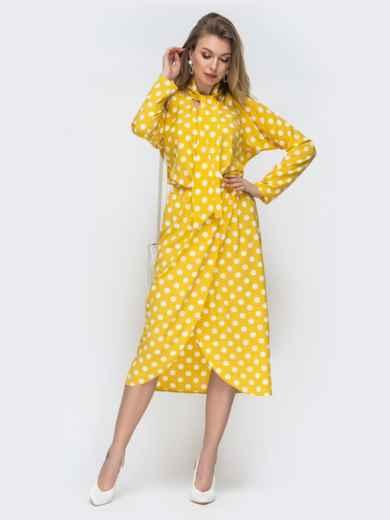 Желтое платье в горох с воротником-аскот 45844, фото 2