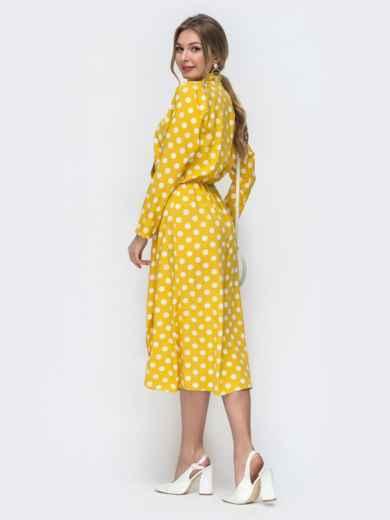 Желтое платье в горох с воротником-аскот 45844, фото 3