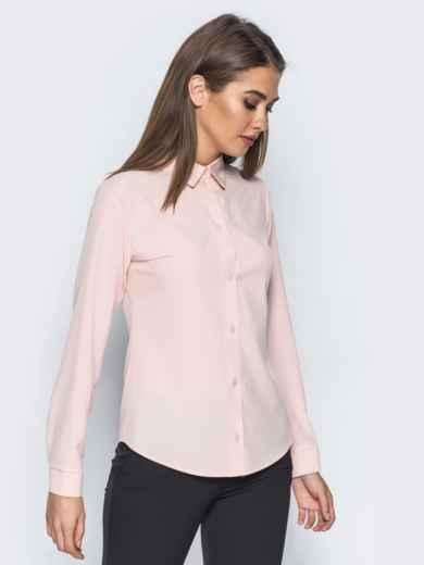 Блузка полуприталенного кроя с функциональными пуговицами розовая - 14229, фото 2 – интернет-магазин Dressa