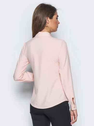 Блузка полуприталенного кроя с функциональными пуговицами розовая - 14229, фото 3 – интернет-магазин Dressa