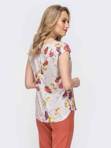 Блузка серого цвета с принтом - 45863, фото 3 – интернет-магазин Dressa