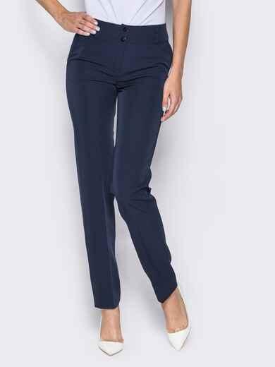 Брюки из костюмной ткани с карманами-обманками темно-синие - 14410, фото 1 – интернет-магазин Dressa