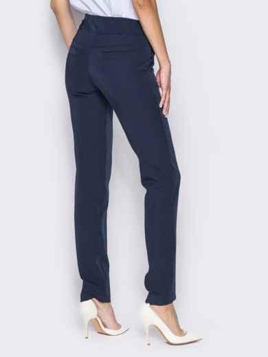 Брюки из костюмной ткани с карманами-обманками темно-синие - 14410, фото 2 – интернет-магазин Dressa