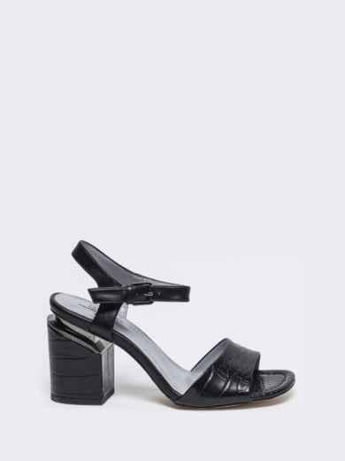 Чёрные босоножки на каблуке с застежкой - 49757, фото 4 – интернет-магазин Dressa