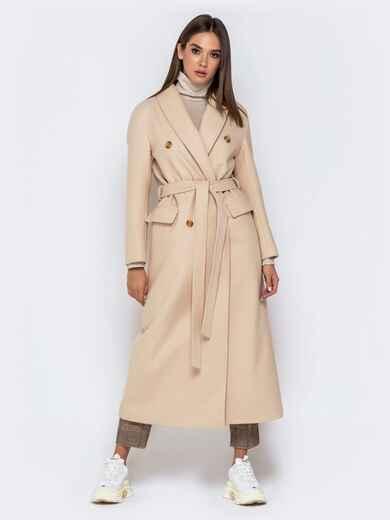 Длинное пальто в стиле oversize с поясом бежевое 40998, фото 1