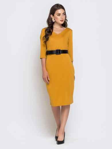 Горчичное платье-миди с рукавом 3/4 и V-вырезом - 40214, фото 2 – интернет-магазин Dressa