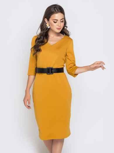 Горчичное платье-миди с рукавом 3/4 и V-вырезом - 40214, фото 3 – интернет-магазин Dressa