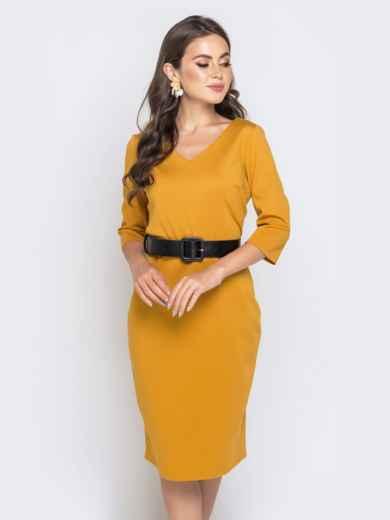 Горчичное платье-миди с рукавом 3/4 и V-вырезом - 40214, фото 4 – интернет-магазин Dressa