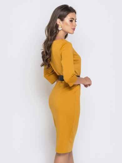 Горчичное платье-миди с рукавом 3/4 и V-вырезом - 40214, фото 5 – интернет-магазин Dressa