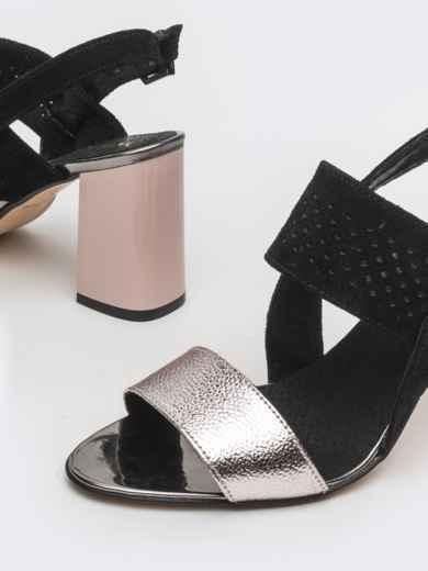 Контрастные босоножки из тисненной кожи - 39622, фото 3 – интернет-магазин Dressa