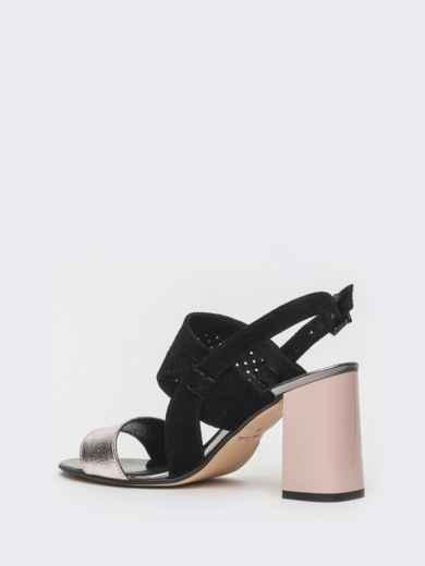 Контрастные босоножки из тисненной кожи - 39622, фото 5 – интернет-магазин Dressa