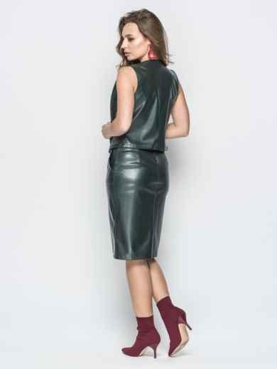 Кожаный комплект из жилетки на кнопках и юбки зелёный - 19615, фото 3 – интернет-магазин Dressa