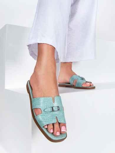 Шлепанцы голубого цвета на плоской подошве  - 49756, фото 3 – интернет-магазин Dressa