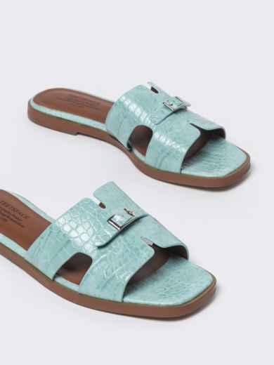 Шлепанцы голубого цвета на плоской подошве  - 49756, фото 4 – интернет-магазин Dressa
