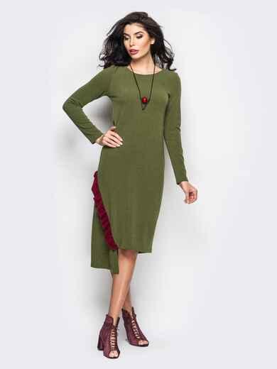 Трикотажное платье мятного цвета с оборкой - 22153, фото 1 – интернет-магазин Dressa
