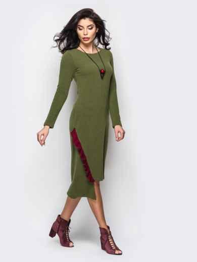 Трикотажное платье мятного цвета с оборкой - 22153, фото 2 – интернет-магазин Dressa