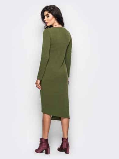 Трикотажное платье мятного цвета с оборкой - 22153, фото 3 – интернет-магазин Dressa