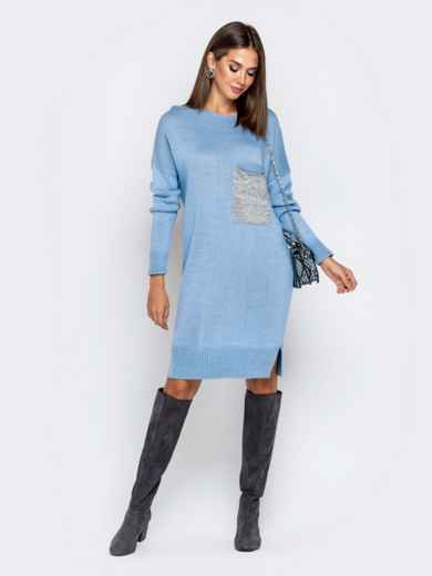 Вязаное платье с вырезом по спинке голубое - 41047, фото 2 – интернет-магазин Dressa