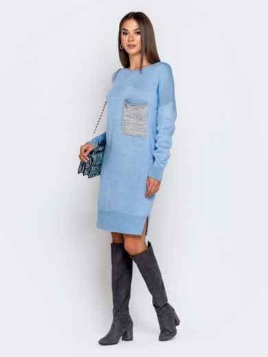 Вязаное платье с вырезом по спинке голубое - 41047, фото 3 – интернет-магазин Dressa