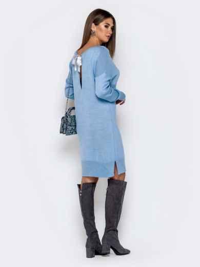 Вязаное платье с вырезом по спинке голубое - 41047, фото 4 – интернет-магазин Dressa