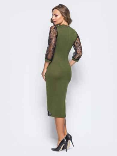 Зелёное трикотажное платье на молнии со вставками из гипюра - 16154, фото 3 – интернет-магазин Dressa