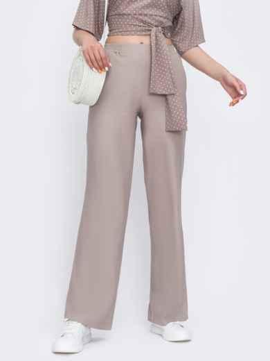 Бежевые брюки-клёш с удобными карманами 48814, фото 2