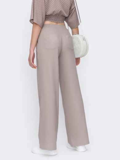 Бежевые брюки-клёш с удобными карманами 48814, фото 3