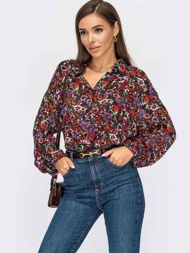 Блузка свободного кроя с цветочным принтом и декоративным узлом 55081, фото 1